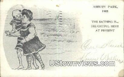 Bathing - Asbury Park, New Jersey NJ Postcard