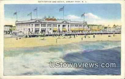Natatorium & Beach - Asbury Park, New Jersey NJ Postcard