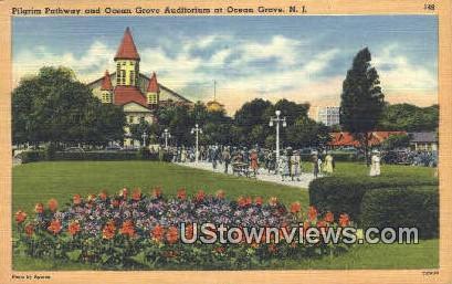 Pilgrim Pathway, Ocean Grove Auditorium - New Jersey NJ Postcard