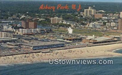 Beach & Boardwalk - Asbury Park, New Jersey NJ Postcard