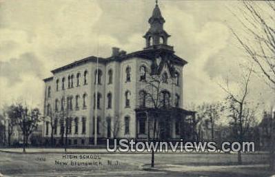 High School, New Brunswick - New Jersey NJ Postcard