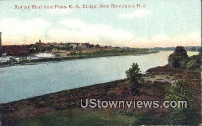 Raritan River, Penn. R.R. Bridge - New Brunswick, New Jersey NJ Postcard