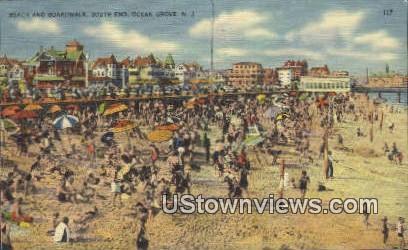 Beach, Boardwalk - Ocean Grove, New Jersey NJ Postcard