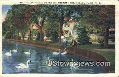 Feeding the Swans, Sunset Lake - Asbury Park, New Jersey NJ Postcard