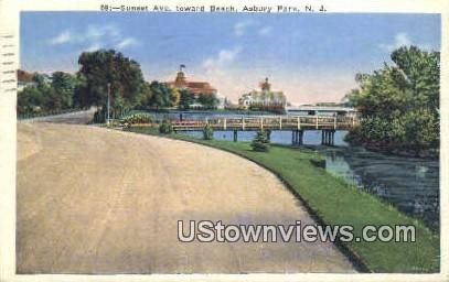 Sunset Ave, Beach - Asbury Park, New Jersey NJ Postcard