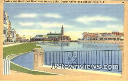 Casino, North End Hotel, Wesley Lake - Asbury Park, New Jersey NJ Postcard