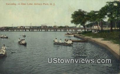 Canoeing, Deal Lake - Asbury Park, New Jersey NJ Postcard