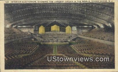 Auditorium, Largest Organ - Ocean Grove, New Jersey NJ Postcard