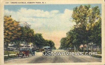 Grand Avenue - Asbury Park, New Jersey NJ Postcard