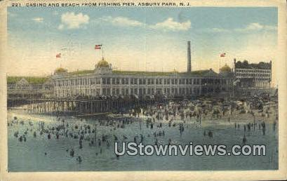 Casino & Beach, Fishing Pier - Asbury Park, New Jersey NJ Postcard