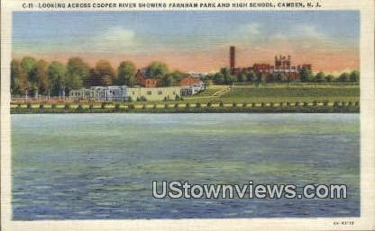 Cooper River, Farham Park & High School - Camden, New Jersey NJ Postcard