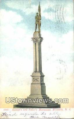 Soldier's & Sailor's Monument - Elizabeth, New Jersey NJ Postcard