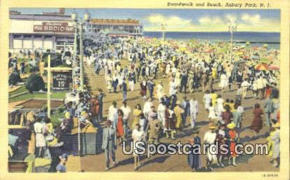Boardwalk & Beach - Asbury Park, New Jersey NJ Postcard