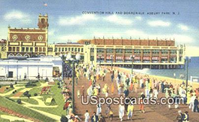 Convention Hall & Boardwalk - Asbury Park, New Jersey NJ Postcard