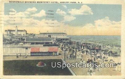 Boardwalk Showing Monterey Hotel - Asbury Park, New Jersey NJ Postcard