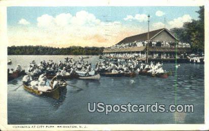Canoeing at City Park - Bridgeton, New Jersey NJ Postcard