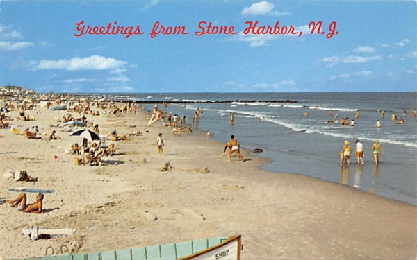 The Wide, Gently Sloping Beach Stone Harbor, New Jersey Postcard