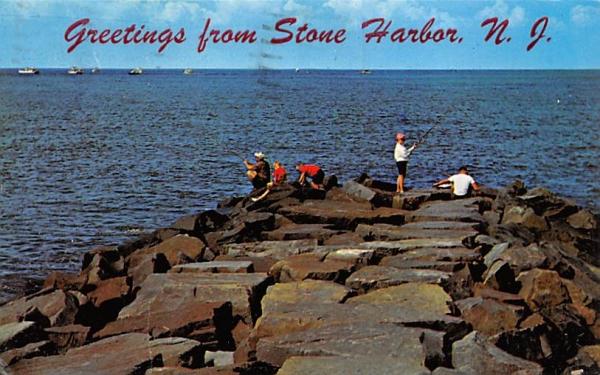 Jetty Fishing Stone Harbor, New Jersey Postcard