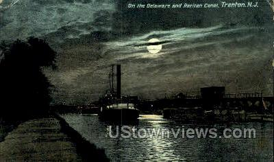 The Delware River By Night - Trenton, New Jersey NJ Postcard