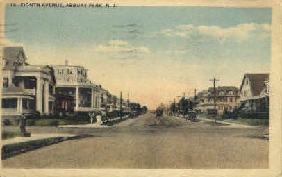 Eighth Avenue - Asbury Park, New Jersey NJ Postcard