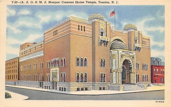 (A. A. O. N. M. S. Mosque) Crescent Shrine Temple Trenton, New Jersey Postcard