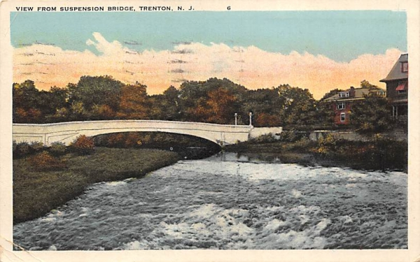 View from Suspension Bridge Trenton, New Jersey Postcard