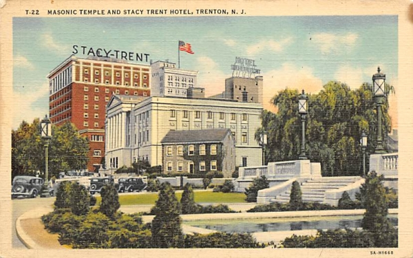 Masonic Temple and Stacy Trent Hotel Trenton, New Jersey Postcard