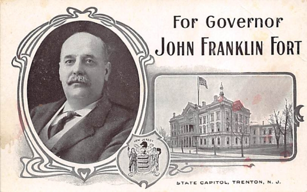 For Governor John Franklin Fort, State Capitol Trenton, New Jersey Postcard