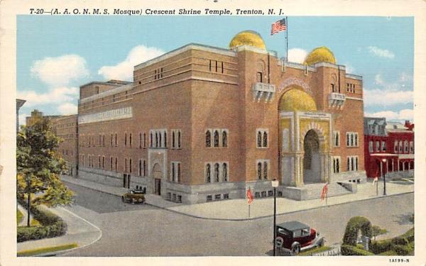 Crescent Shrine Temple Trenton, New Jersey Postcard