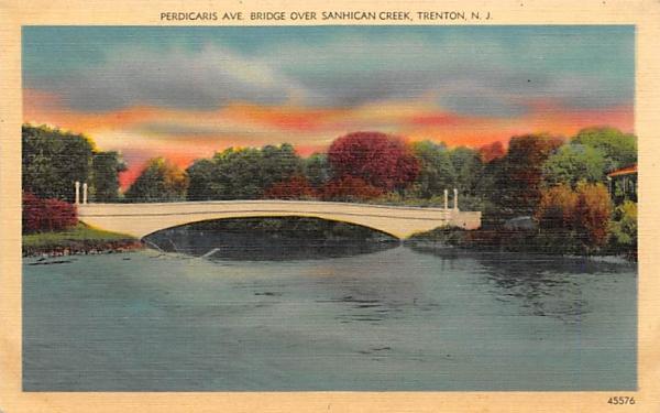 Perdicaris Ave. Bridge Over Sanhican Creek Trenton, New Jersey Postcard