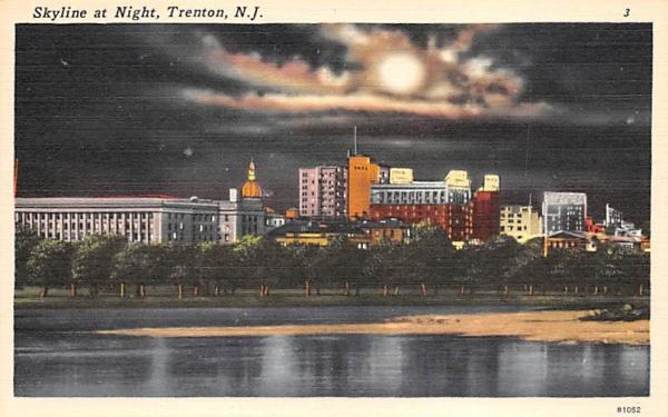 Skyline at Night Trenton, New Jersey Postcard