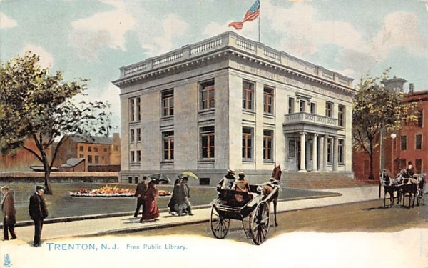 Free Public Library Trenton, New Jersey Postcard