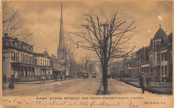 East State Street and Fourth Presbyterian Church Trenton, New Jersey Postcard