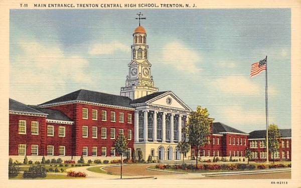 Main Entrance, Trenton Central High School New Jersey Postcard