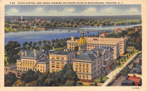 State Capitol, Annex, Delaware River Trenton, New Jersey Postcard