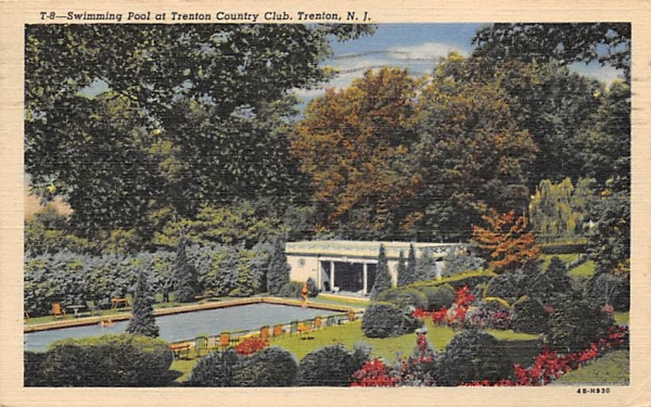 Swimming Pool at Trenton Country Club New Jersey Postcard