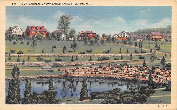 Rocks Garden, Cadwalader Park Trenton, New Jersey Postcard
