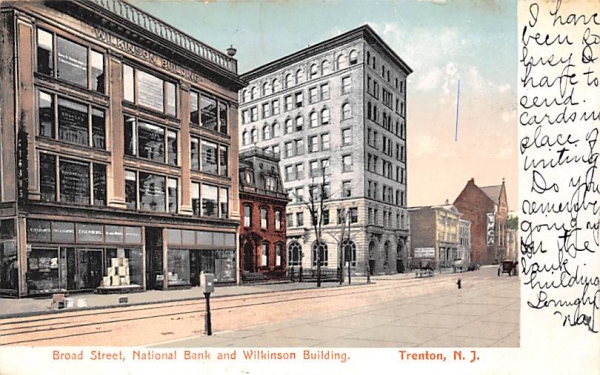 National Bank and Wilkinson Building Trenton, New Jersey Postcard