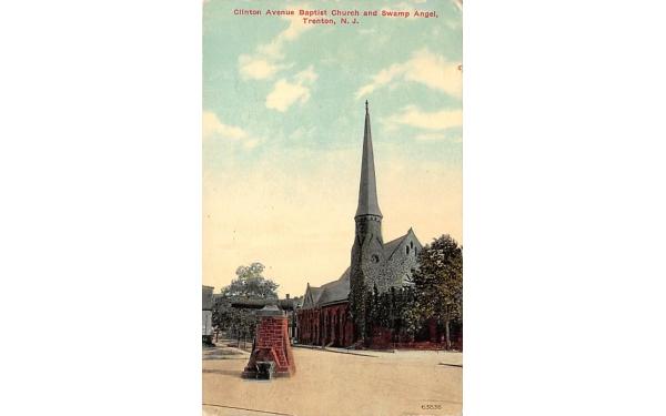 Clinton Avenue Baptist Church and Swamp Angel Trenton, New Jersey Postcard