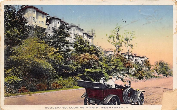 Boulevard, Looking North  Weehawken, New Jersey Postcard