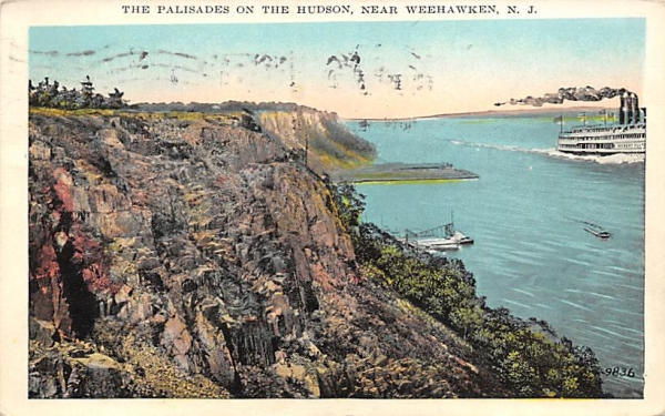 Palisades on Hudson near Weehawken, NJ New Jersey Postcard