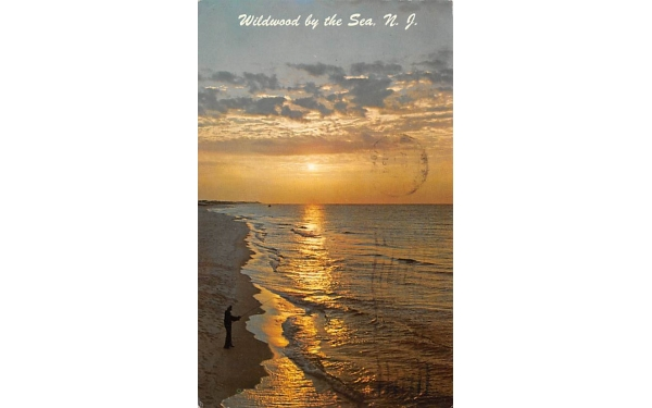Surf Fishing at Wildwood by the Sea New Jersey Postcard