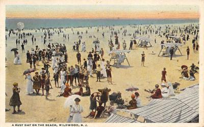 A Busy Day on the Beach Wildwood, New Jersey Postcard