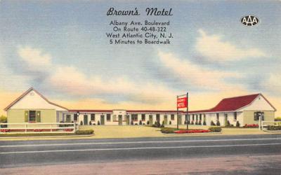 Brown's Motel  West Atlantic City, New Jersey Postcard