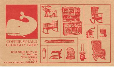 Copper Whale Curiosity Shop non postcard backing West Belmar, New Jersey
