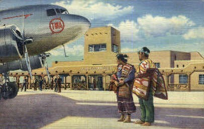 TWA airplane Municipal Airport - Albuquerque, New Mexico NM Postcard