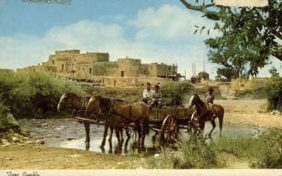 Taos Pueblo in Spring - New Mexico NM Postcard
