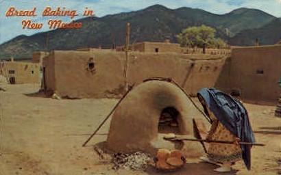 Bread Baking - Taos Pueblo, New Mexico NM Postcard