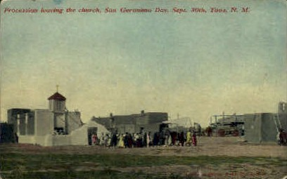Procession Leaving the Church - Taos, New Mexico NM Postcard