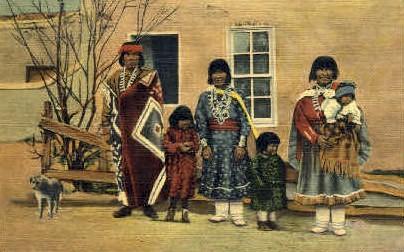Indian Pueblo Family - Misc, New Mexico NM Postcard